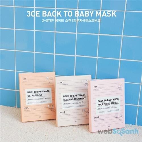 Mặt nạ 3CE Back To Baby Mask 2 bước đang được rất nhiều bạn gái yêu thích