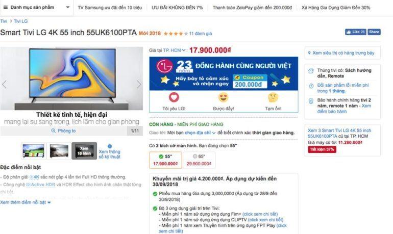 Smart Tivi LG 4K 55 inch 55UK6100PTA thấy ĐMX bán giá 17,9 triệu tặng phiếu mua hàng 3 triệu và loa bluetooth.