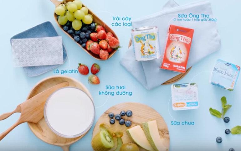 Chuẩn bị các nguyên liệu làm sữa chua dẻo
