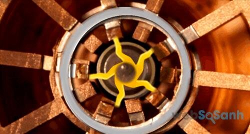 Các hốc trên cực a nốt hình tròn tạo ra vi sóng khi bị dòng electron quét qua