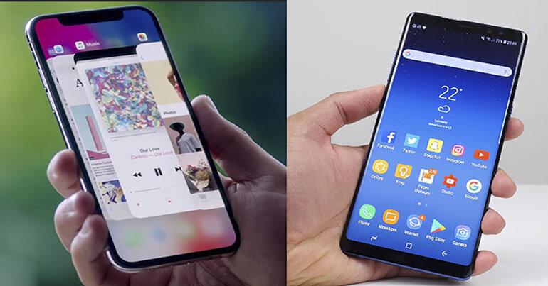 So sánh về thiết kế của iPhone X và Samsung Galaxy Note 8