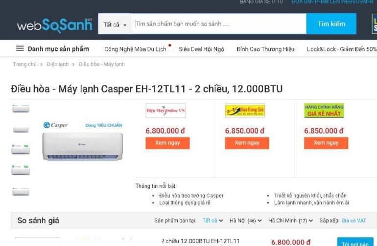 Điều hòa 2 chiều Casper EH-12TL11 12000 BTU - Giá rẻ nhất: 6.800.000 vnđ
