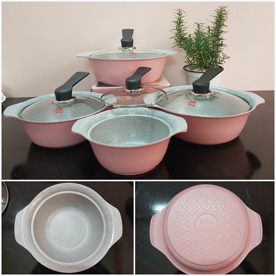 Bộ nồi nhập khẩu cao cấp vân đá ceramic ILO 21cm Hàn Quốc