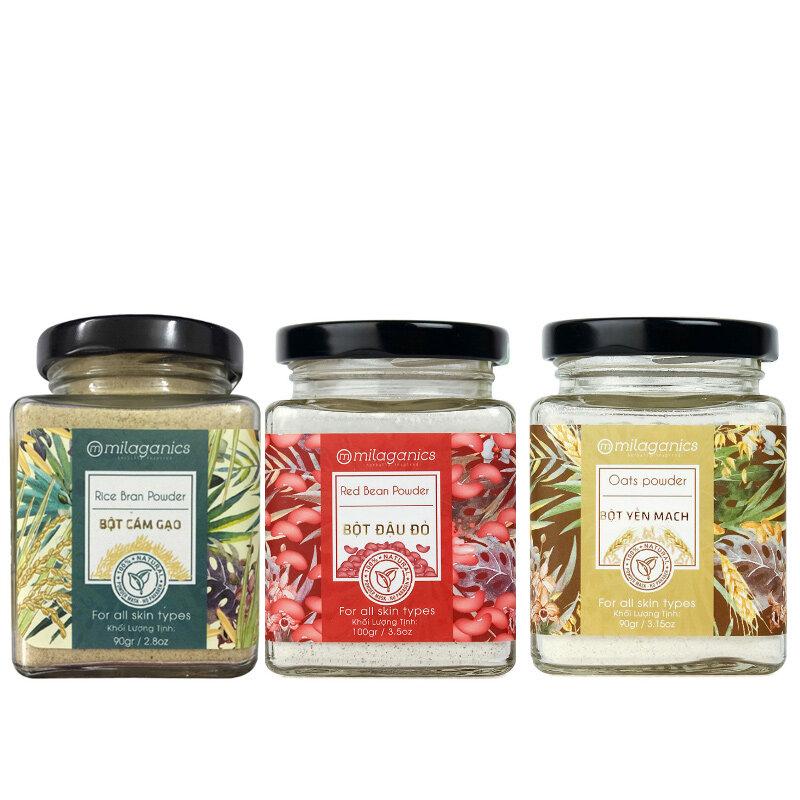 3 gói bột cám gạo - bột yến mạch - đậu đỏ Milaganics