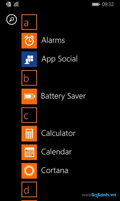 Phần mền có sẵn của Lumia 435