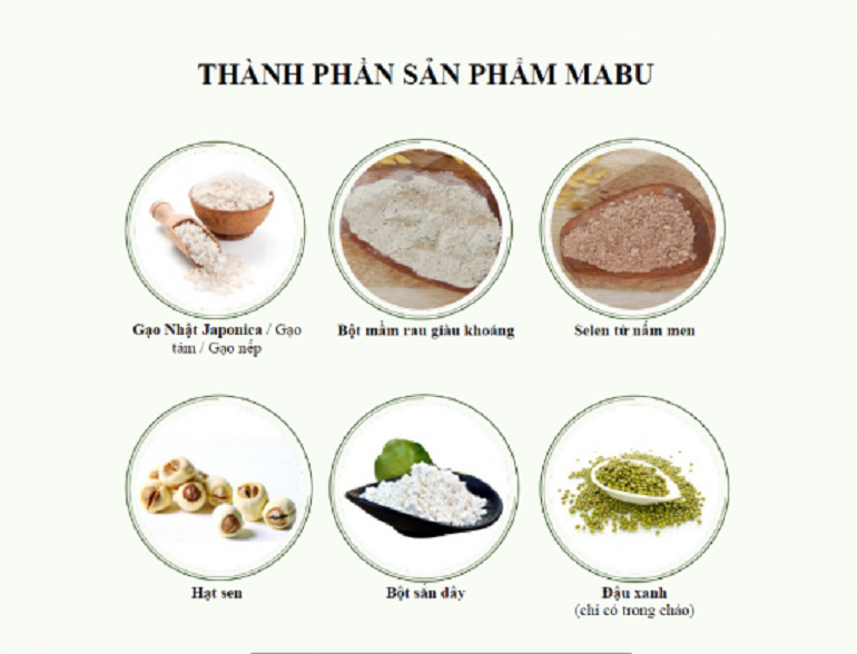 Các nguyên liệu để sản xuất bột ăn dặm Mabu