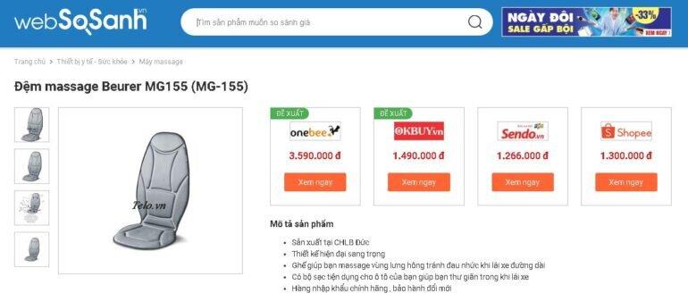 Giá đệm massage Beurer MG155