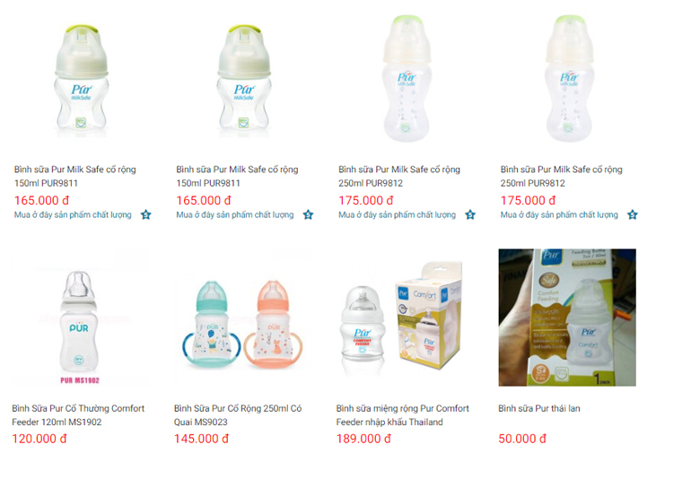 Bình sữa Pur có giá bình dân