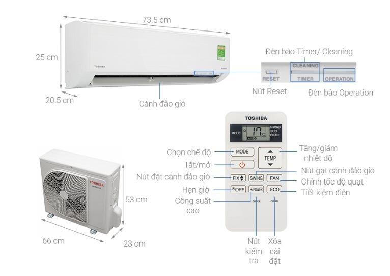 Điều hòa máy lạnh Toshiba Inverter 1 HP RAS-H10D1KCVG-V - Giá rẻ nhất: 6.680.000 vnđ