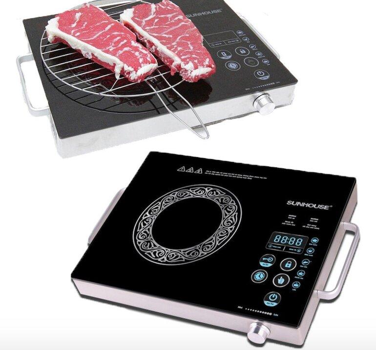 Điều chỉnh công suất bếp nấu Sunhouse dễ dàng bằng sử dụng phím tăng/giảm nhiệt độ