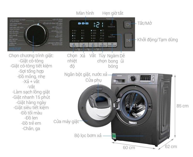 Máy giặt sấy Samsung AddWash Inverter có nhiều tính năng hiện đại