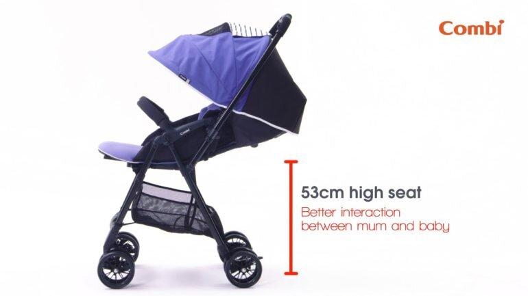Xe đẩy Combi Handy S có chiều cao hơn so với các mẫu xe đẩy Combi khác.