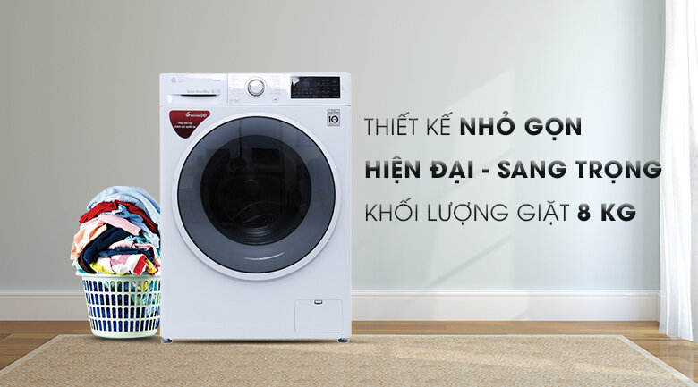 Máy giặt cửa trước Inverter LG FC1408S4W2 sử dụng công nghệ Inverter hiện đại, mới nhất giúp tiết kiệm điện