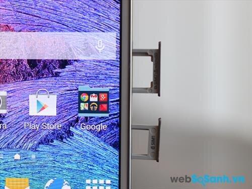 Do thiết kế nguyên khối nên các khe cắm Sim và thẻ nhớ của Galaxy E7 được bố trí bên cạnh phải