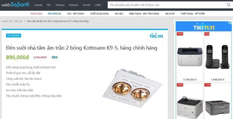 Đèn sưởi nhà tắm âm trần 2 bóng Kottmann K9-S hàng chính hãng giá giảm 50% chỉ còn 890.000 vnđ