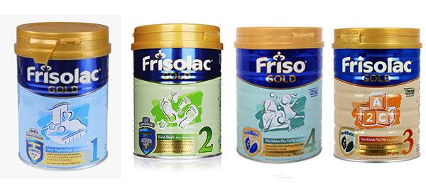 Các dòng sữa Frisolac Gold trên thị trường