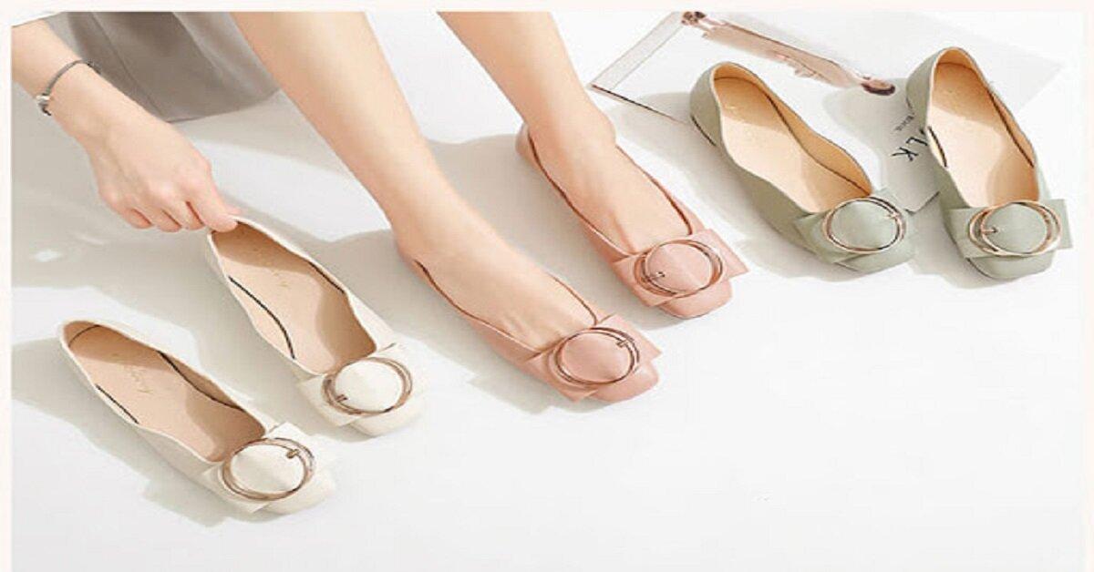 giày búp bê mũi tròn
