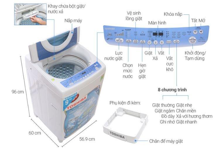 Máy giặt Toshiba Inverter 9kg AW-DC1005CV