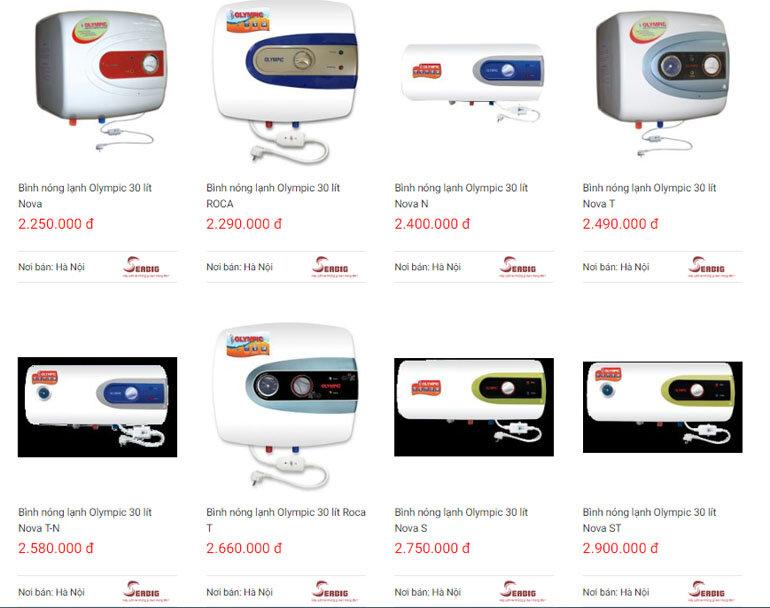 Bình nóng lạnh Olympic có nhiều loại cho người dùng lựa chọn