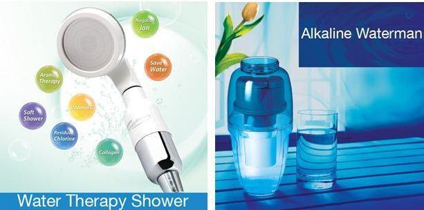 vòi sen tắm Water Therapy Shower và bình lọc nước Ion kiềm di động Alkaline Waterman