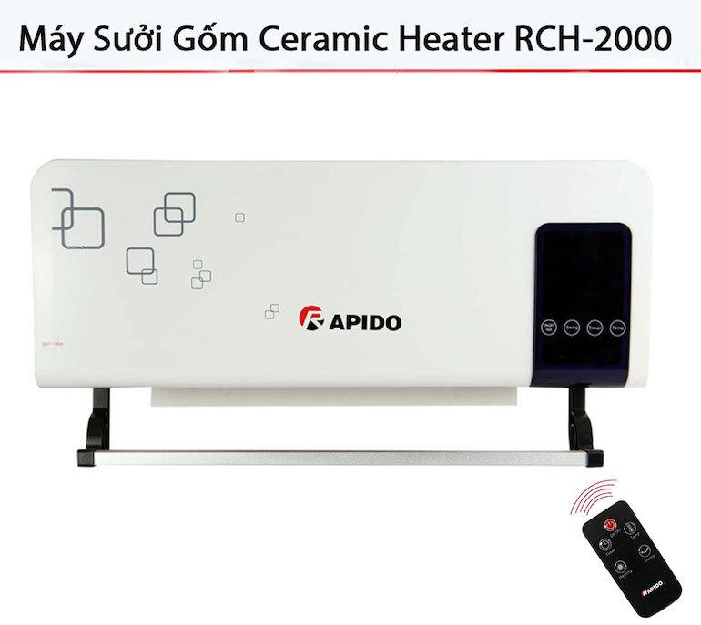Máy sưởi gốm Rapido có điều khiển RCH 2000-D