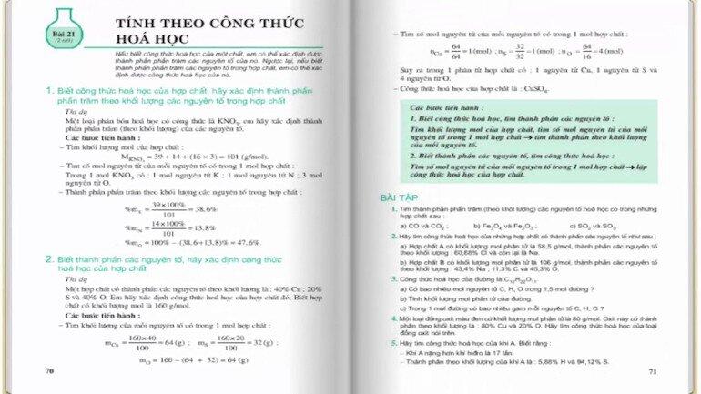 Sách giáo khoa hóa lớp 8 giúp học sinh trau dồi kỹ năng toán học
