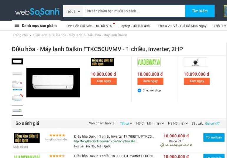Điều hòaDaikin Inverter 2 HP FTKC50UVMV - Giá rẻ nhất: 18.000.000 vnđ