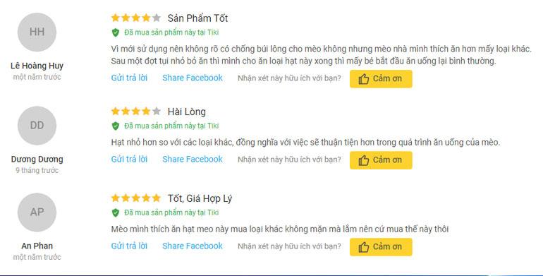 review của người dùng về me-o persian