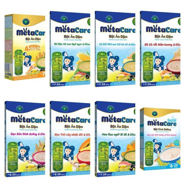 Bột ăn dặm Metacare có nhiều hương vị khác nhau