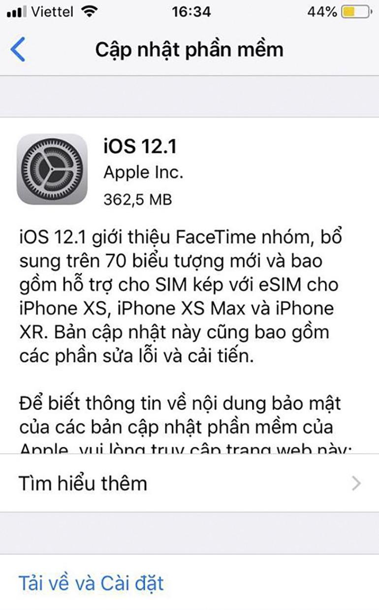 Có nên nâng cấp hệ điều hành iOS 12.1 mới nhất không ? Hệ điều hành iOS 12.1 sử dụng có ổn định không ?