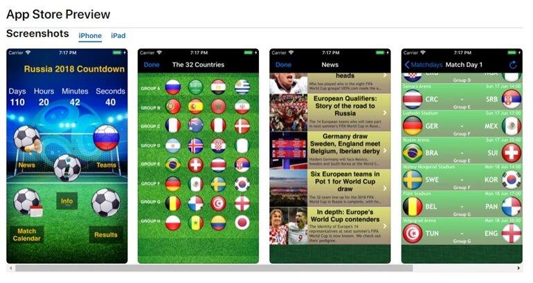 ứng dụng xem world cup 2018 trên smartphone