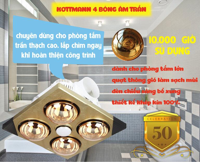 Tuổi thọ bóng Đèn sưởi nhà tắm âm trần Heizen lên đến 10.000 giờ
