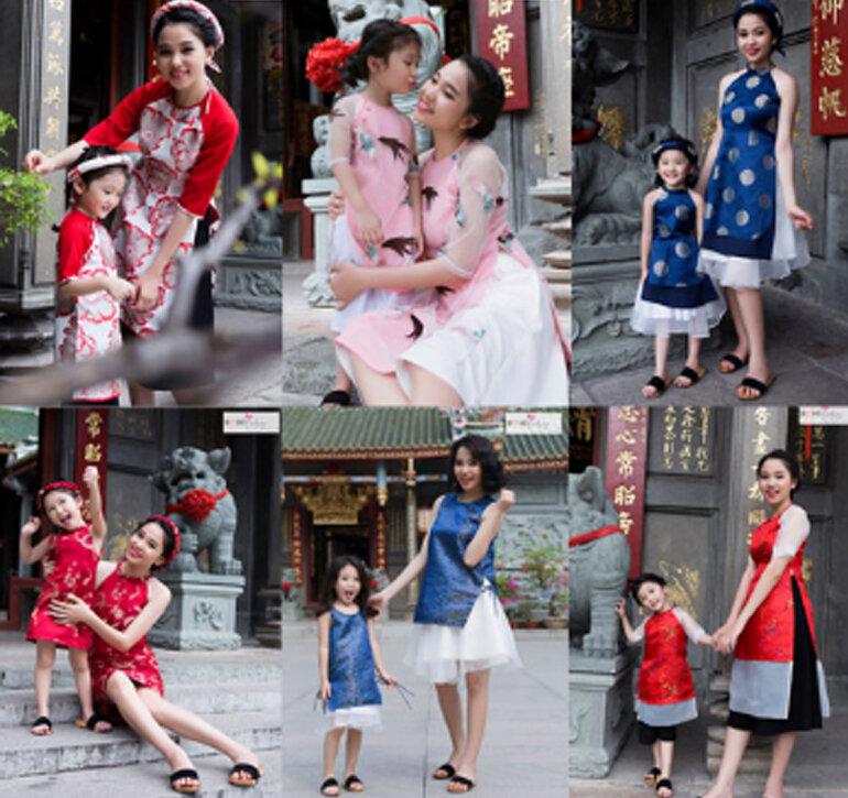 trang phục áo dài cách tân, đồ đôi cho mẹ và bé