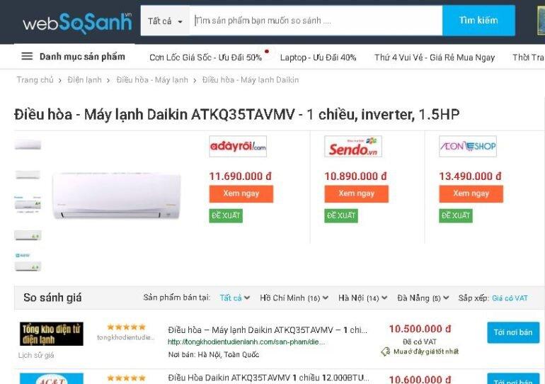 Điều hòaDaikin Inverter 1.5 HP ATKQ35TAVMV - Giá rẻ nhất: 10.500.000 vnđ