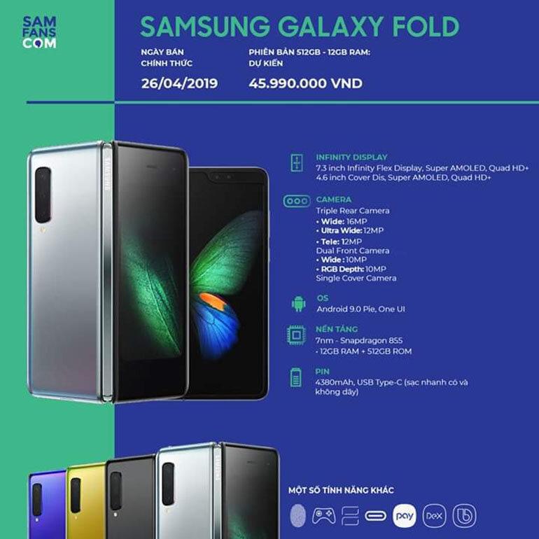 Thông số kỹ thuật cấu hình Samsung Galaxy Fold