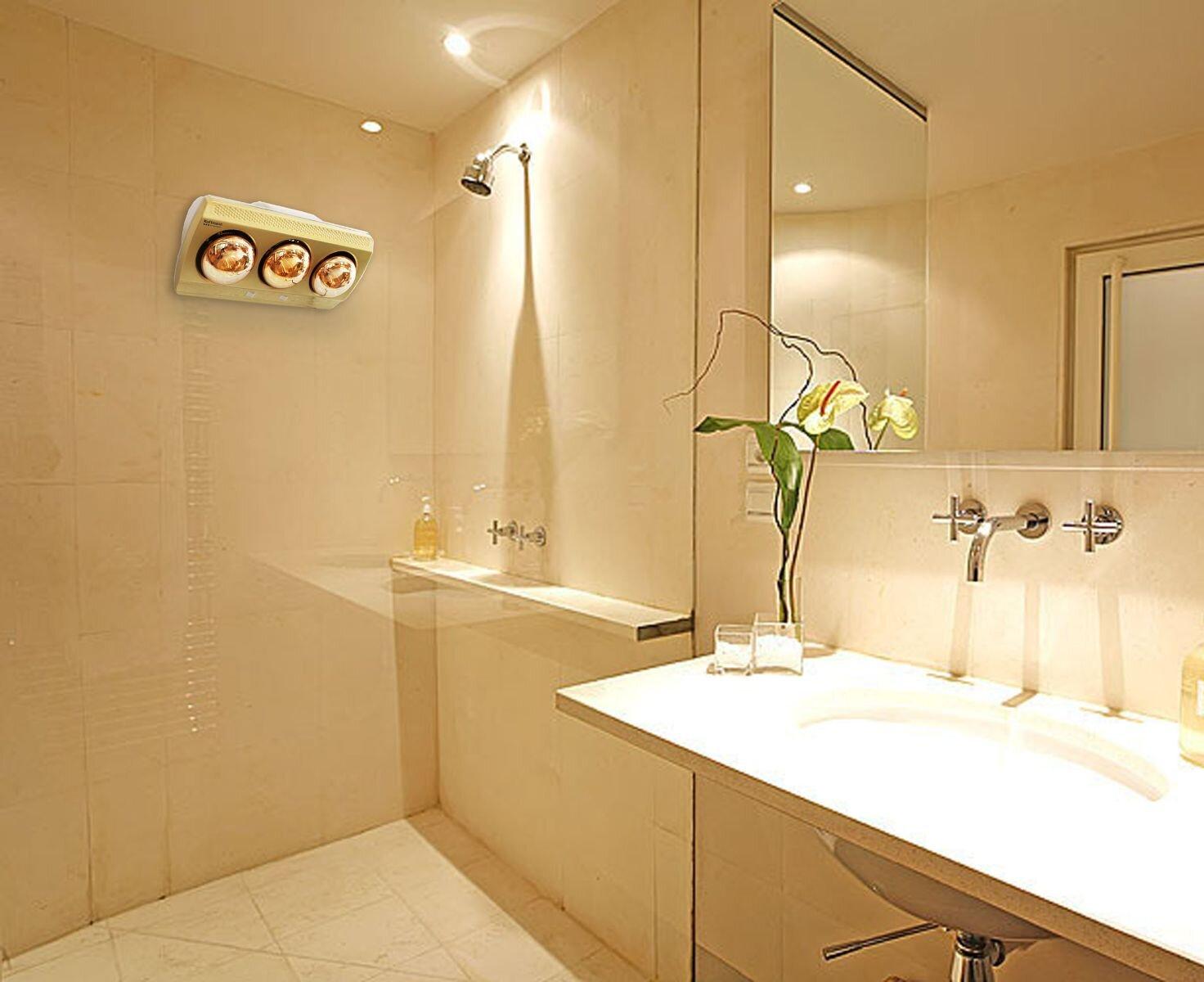 Sử dụng đèn sưởi trong nhà tắm vừa chiếu sáng lại vừa làm ấm rất tốt, giúp tiết kiệm điện năng.