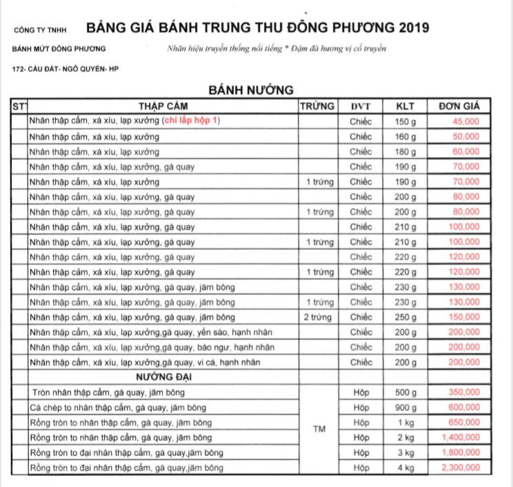 bảng giá bánh trung thu Đông Phương 2019