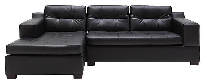 Sofa da chữ L Juno Ellen 240 x 155 x 78cm (Đen)