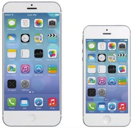 Một mẫu concept (hình trái) về iPhone 6