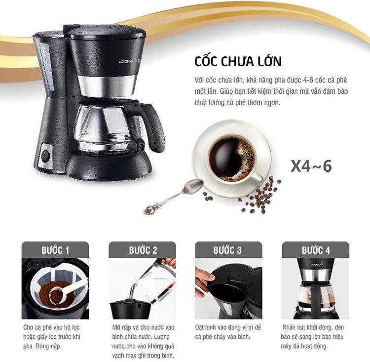Chi tiết cách sử dụng máy pha cà phê Lock&Lock