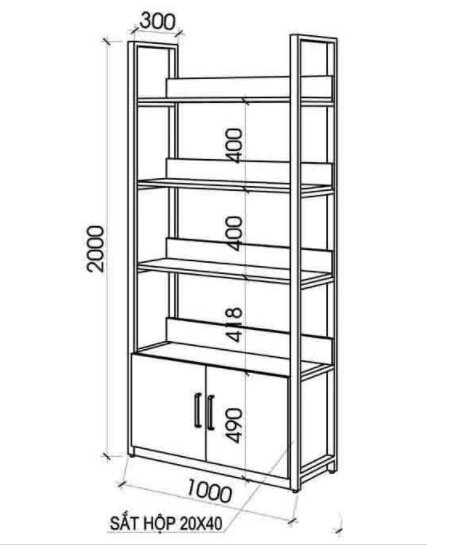tủ kệ gỗ chân sắt sinh liên