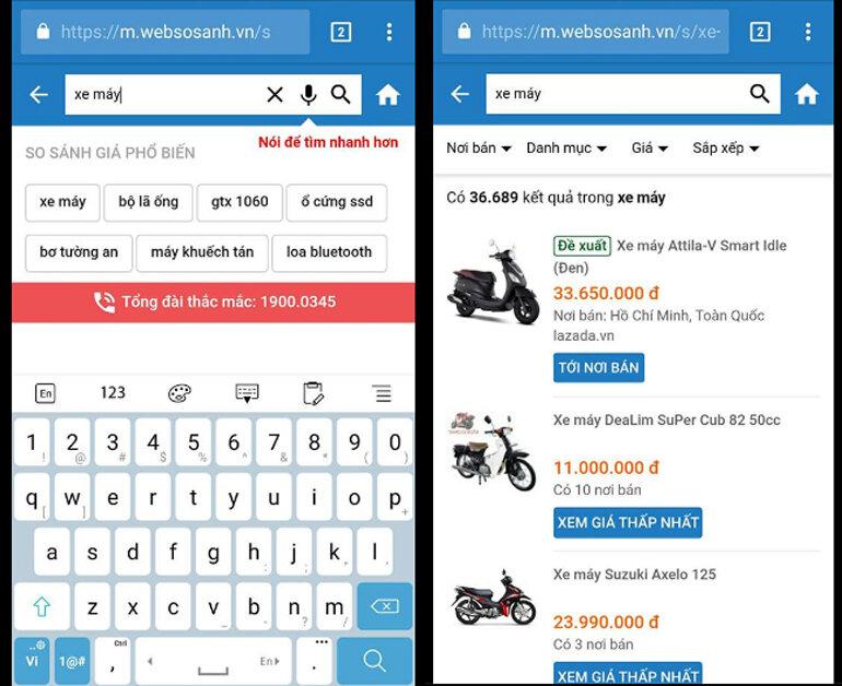 Hướng dẫn trải nghiệm tính năng mới tìm kiếm bằng giọng nói trên Websosanh.vn phiên bản mobile