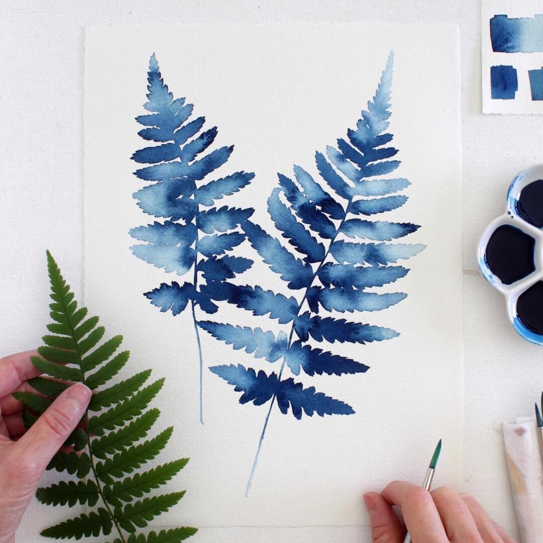 Phác họa lá cây cực kỳ đơn giản với màu nước