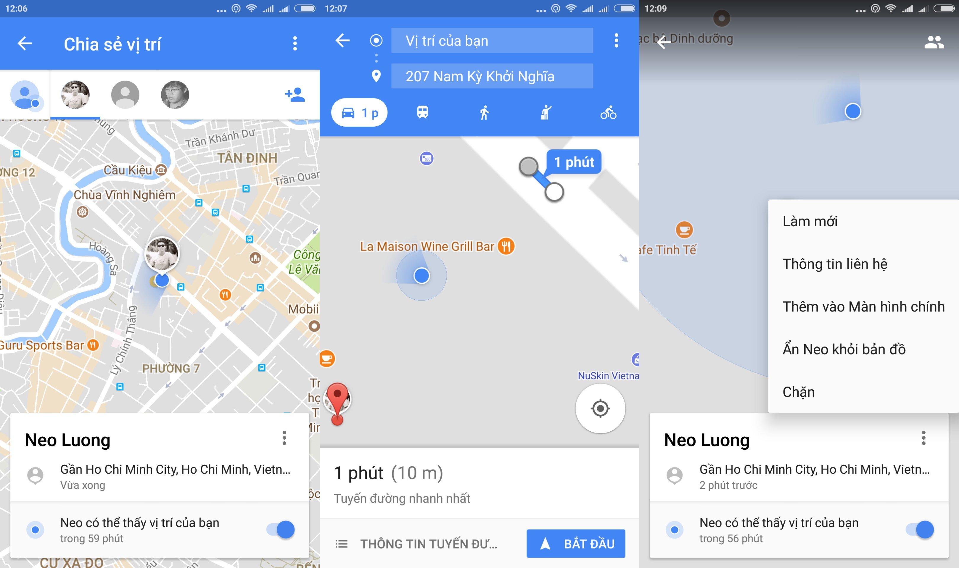 Maps cho phép chia sẻ vị trí