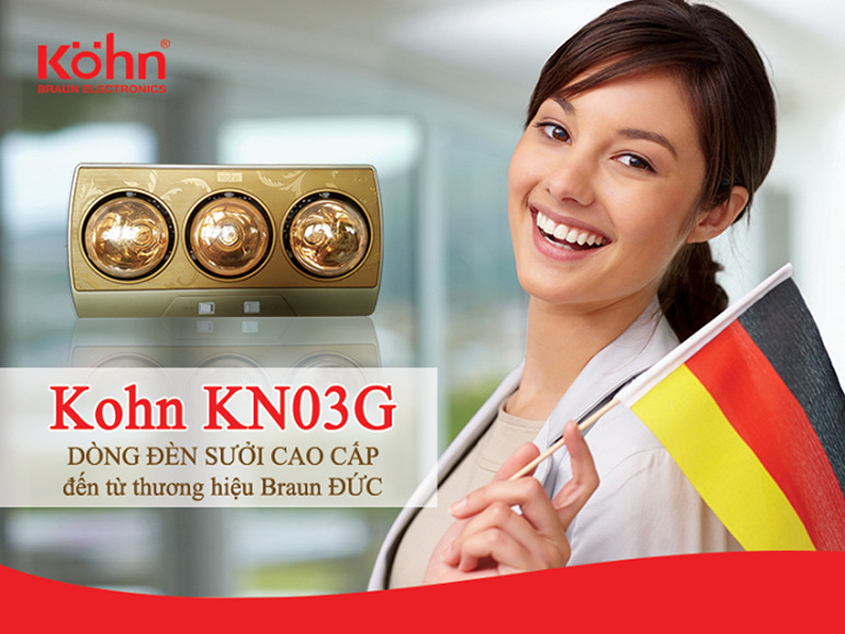 Đèn sưởi nhà tắm Konh KN03G cao cấp đến từ Đức