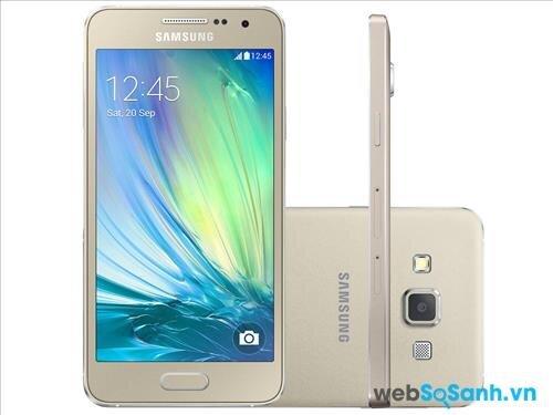 Galaxy A3 cũng sở hữu thiết kế nguyên khối bằng kim loại được gia công tỉ mỉ với các viền vát phẳng sáng bóng