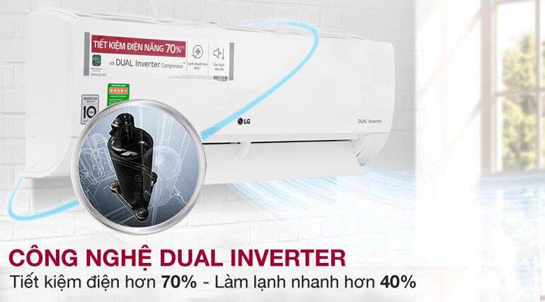 Điều hòa 1 chiều Inverter LG V10ENW 9.200BTU Dual Cool