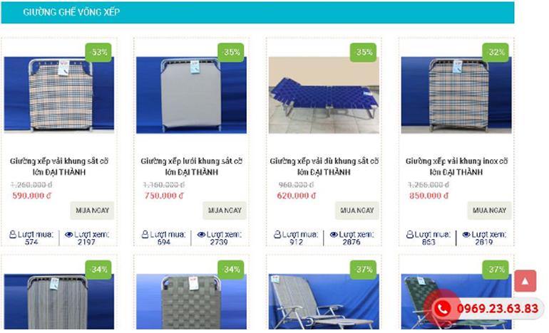 Giảm 20 - hơn 50% cho các sản phẩm giường xếp, võng xếp thư giãn