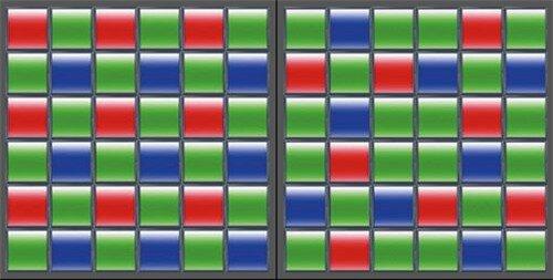 Thiết kế bộ lọc màu Bayer thông thường ở bên trái của X-A1 so với những người anh em dòng X Series khác là 6x6 trên cảm biến CMOS X-Trans.