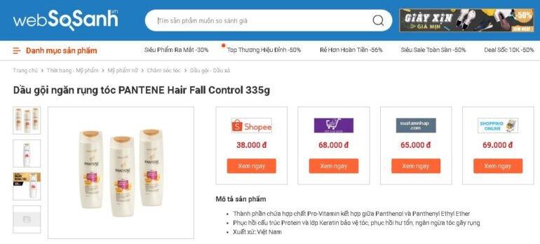 Giá dầu gội ngăn rụng tóc Pantene bao nhiêu tiền?
